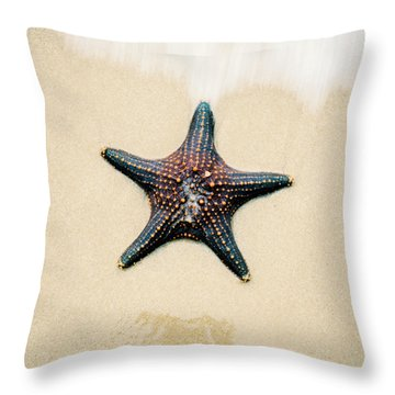 Starfish On The Beach Sand. Close Up. Throw Pillow