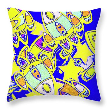 Stars And Spacecraft Throw Pillow
