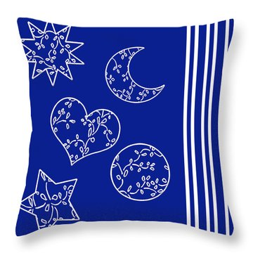 Throw Pillow featuring the painting Stars Are Out by Belinda Landtroop