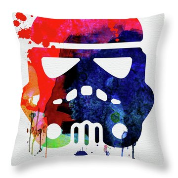 Starship Trooper Watercolor Cartoon Throw Pillow