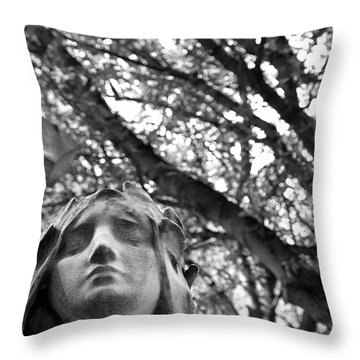 Throw Pillow featuring the photograph Statue, Contemplating by Edward Lee