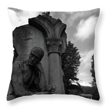 Throw Pillow featuring the photograph Statue, Pondering by Edward Lee