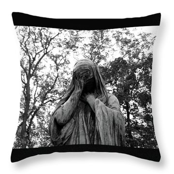 Throw Pillow featuring the photograph Statue, Regret by Edward Lee