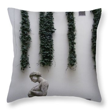 Throw Pillow featuring the photograph Statue, Wall by Edward Lee