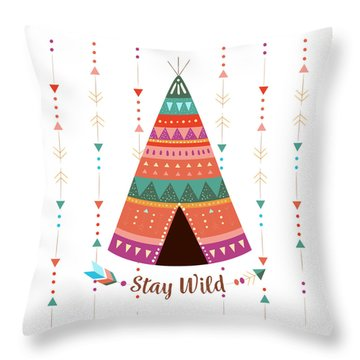 Stay Wild - Boho Chic Ethnic Nursery Art Poster Print Throw Pillow