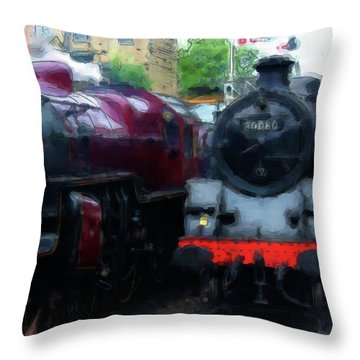 Steam Trains Throw Pillow