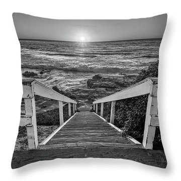 Steps To The Sun  Black And White Throw Pillow