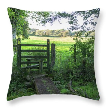 Stile Between Fields In Britain Throw Pillow