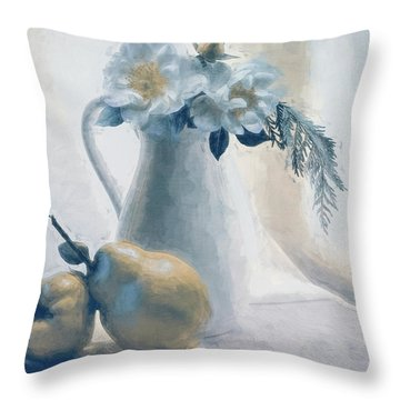 Still Life Of Flowers And Fruits Throw Pillow