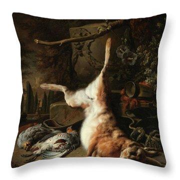 Still Life With A Hare And Other Game, 1697 Throw Pillow