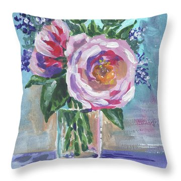 Still Life With Flowers Bouquet Floral Impressionism  Throw Pillow