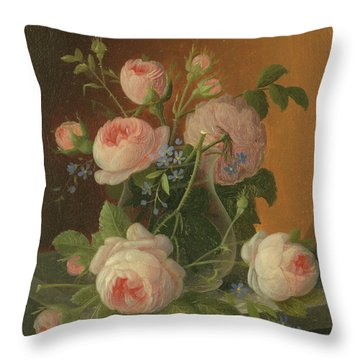 Still Life With Roses, Circa 1860 Throw Pillow