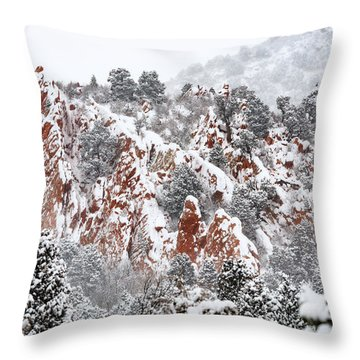 Stillness Of A Snow Covered Morning Throw Pillow