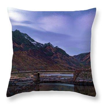 Stone Bridge On Lofoten Islands  Throw Pillow