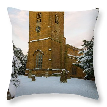 Stone Church In The Snow At Sunset Throw Pillow