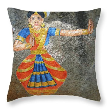 Stone Painting Of Nautch Dancing Gir Throw Pillow