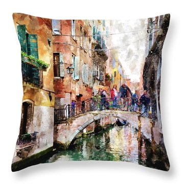 People On Bridge Over Canal In Venice, Italy - Watercolor Painting Effect Throw Pillow