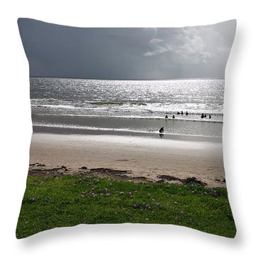 Storm Brewing Over The Sea Throw Pillow