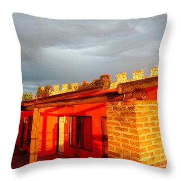 Throw Pillow featuring the photograph Storm Brewing, Sun Setting by Rosanne Licciardi