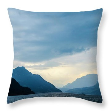Storm Clouds On Lake Lucerne Throw Pillow