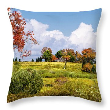 Throw Pillow featuring the photograph Storm Clouds Over Country Landscape by Christina Rollo