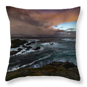 Storm Coastline Throw Pillow