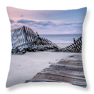 Throw Pillow featuring the photograph Storm Fence Sunrise by Steve Stanger