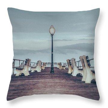 Stormy Boardwalk Throw Pillow