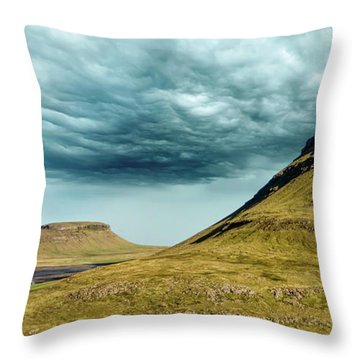 Stormy Church Mountain Throw Pillow