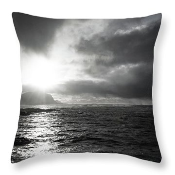 stormy coastline in northern Norway Throw Pillow
