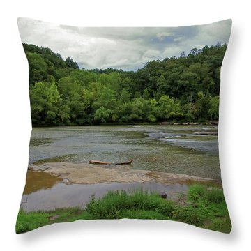 Throw Pillow featuring the photograph Stormy Evening At The River by Angela Murdock