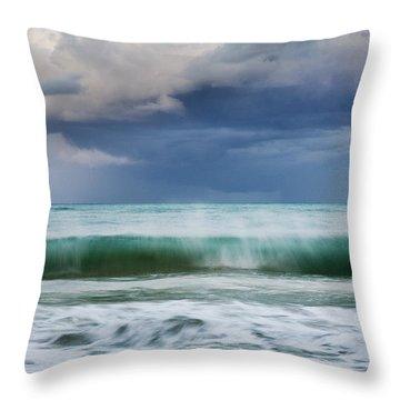 Throw Pillow featuring the photograph Stormy Ocean Wave - Kailua, Oahu by Charmian Vistaunet