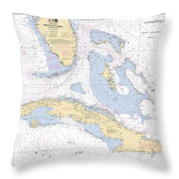 Straits Of Florida Nautical Chart 11013 Throw Pillow