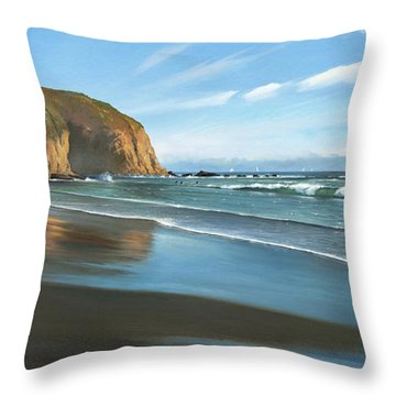 Strands Beach Dana Point Oil Painting Throw Pillow