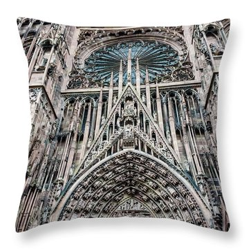 Strasbourg Cathedral Throw Pillow