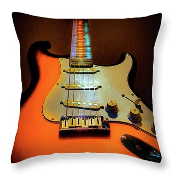 Stratocaster Triburst Glow Neck Series Throw Pillow