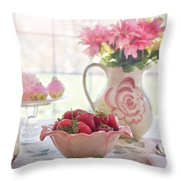 Strawberry Breakfast Throw Pillow