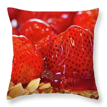 Strawberry Glaze Throw Pillow