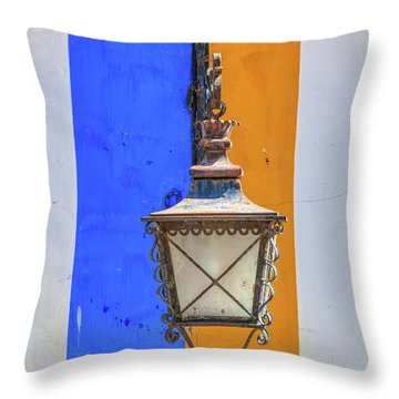 Street Lamp Of Obidos Throw Pillow