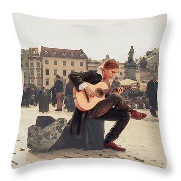 Street Music. Guitar. Throw Pillow