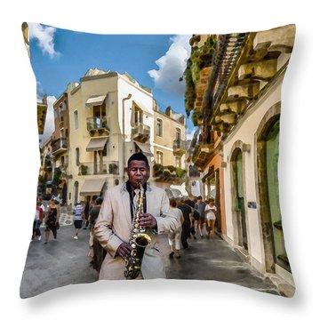 Street Music. Saxophone. Throw Pillow