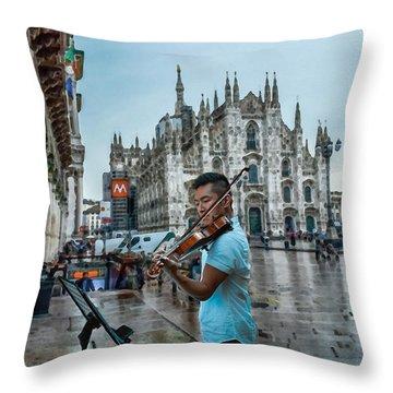 Street Music. Violin. Throw Pillow