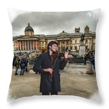 Street Music. Violin. Trafalgar Square. Throw Pillow