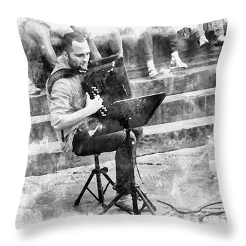 Street Musician In Florence Throw Pillow