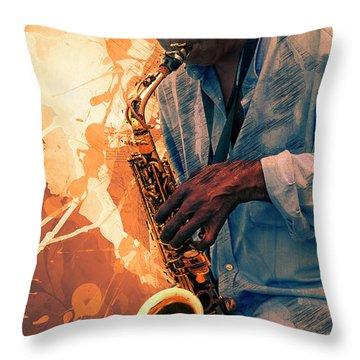 Street Sax Player Throw Pillow