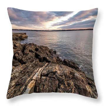 Striations. Leading Lines In The Rocks Throw Pillow