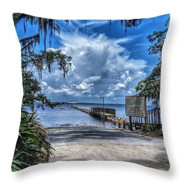 Strolling By The Dock Throw Pillow