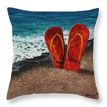 Throw Pillow featuring the painting Stuck In The Sand by Darice Machel McGuire