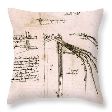 Study On Wings, Codex Atlantic Throw Pillow