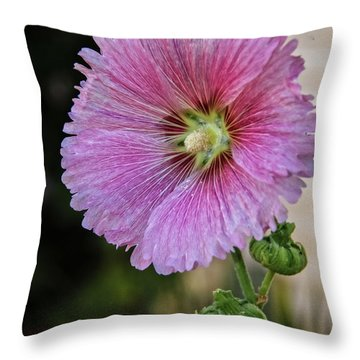 Stunning Pink Hollyhock Throw Pillow